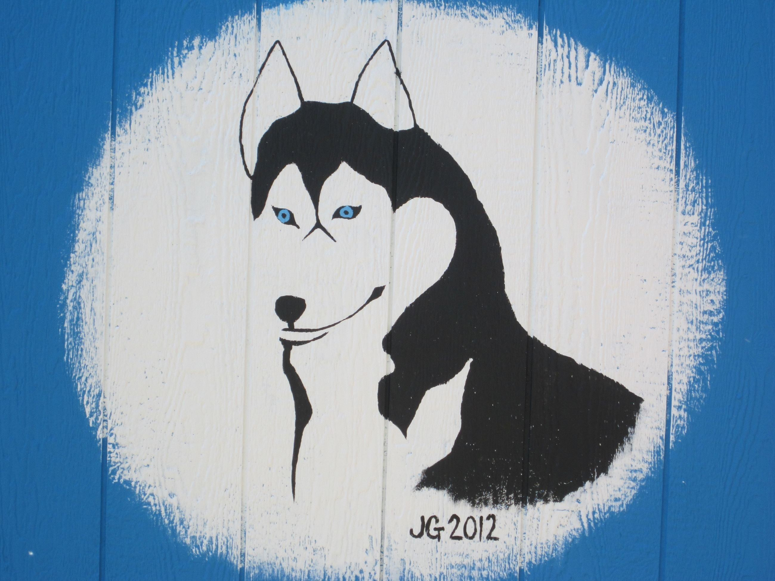 A husky painted on the ECYF garden shed by a resident in 2012