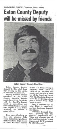 Article on Deputy Don Rice